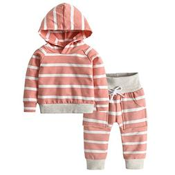 Toddler Infant Baby Boys Girls Stripe Long Sleeve Hoodie Top