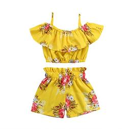 toddler kids baby girl floral halter ruffled