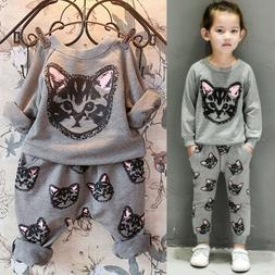 Toddler Kids Baby Girl Outfits Cat Sweatshirt Tops Pants Tra