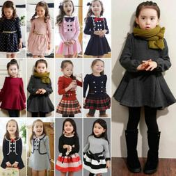 Toddler Kids Baby Girl Winter Skater Dress Long Sleeve Party