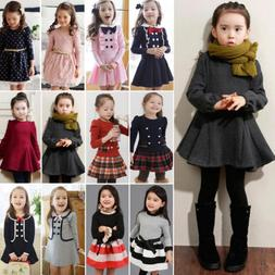a8f88f633c59 Toddler Kids Baby Girl Winter Skater Dress Long Sleeve Party