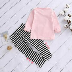Toddler Kids Baby Girls 2Pcs Clothes T Shirt Tops Striped Lo