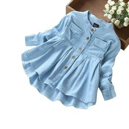 Toddler Kids Baby Girls Autumn Denim Long Sleeve Princess T-