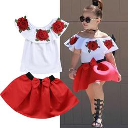 Toddler Kids Baby Girls Off Shoulder Tops Mini Skirt Dresses