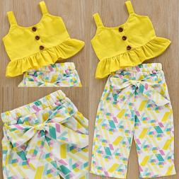 Toddler Kids Baby Girls Outfits Clothes T-shirt Tops+Pants 2