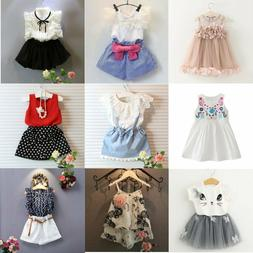Toddler Kids Baby Girls Outfits Clothes T-shirt Tops+Pants/S