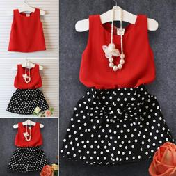 Toddler Kids Baby Girls Outfits Clothes Vest Tank Tops + Ski