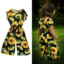 Toddler Kids Baby Girls Sunflower Romper Jumpsuit Short Slee