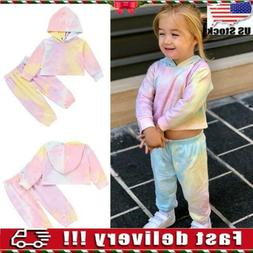 Toddler Kids Baby Girls Tie Dye Clothes Hooded Tops Pants Ou