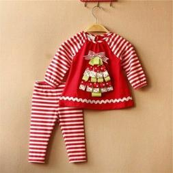 Toddler Kids Baby Girls Xmas Outfits Set Short T-Shirt Tops