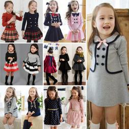 69b19497e570 Toddler Kids Girl Winter Skater Dress Long Sleeve Party Mini
