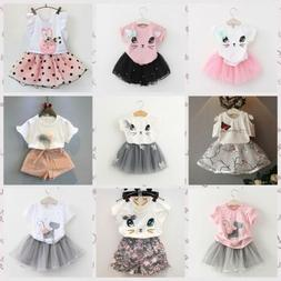 Toddler Kids Girls Baby Outfits Clothes T-shirt Tops+Tutu Dr