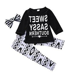 Toddler Kids Girls Sweet Letter Outfits Clothes T-shirt Tops