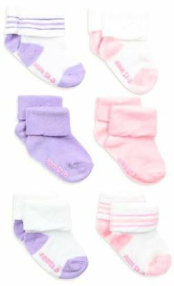 Hanes Girls' Toddler Turn Cuff Socks 6pk Size: 4T-5T