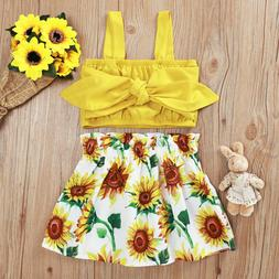 Tops+Floral Skirt Dress Outfits Summer Clothes Set Toddler B