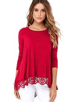 FISOUL Tops Long Sleeve Lace Trim O-Neck A-Line Tunic Tops R