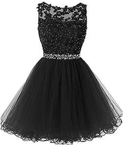 Girls Tulle Lace Applique Junior's Formal Cocktail Homecomin