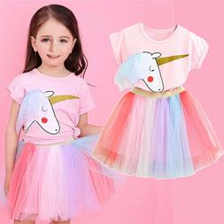 Unicorn Baby Girl Dress Party Costume Outfits Sets Girls Cau