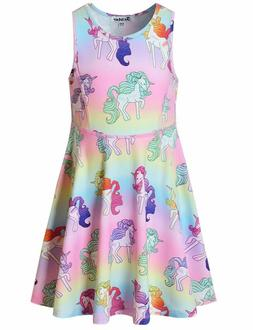 Unicorn Dresses for Girls Sleeveless Summer Swing Casual Clo