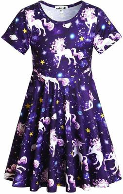 Unicorn Dresses for Girls Summer Swing Short Sleeve Casual C