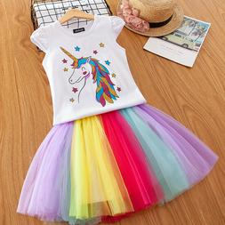 Unicorn Princess Kids Girls Dress Party Clothes Sets Summer