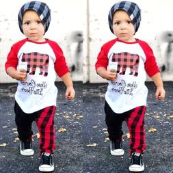 US Christmas Outfits Toddler Kids Baby Boys Girls Tops T-shi