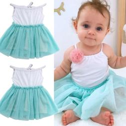US Cute Girl Princess Dress Kids Baby Party Wedding Pageant