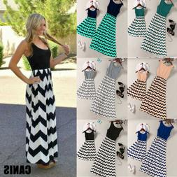 US Family Clothing Maxi Dress Women Kids Girls Boho Stripe S