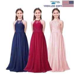 US Flower Girls Chiffon Dress Wedding Bridesmaid Pageant For