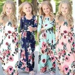 US Canis Kids Baby Girl Fashion Boho Long Maxi Dress Long Sl