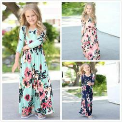 US Kids Baby Girl Fashion Boho Long Maxi Dress Clothing Long