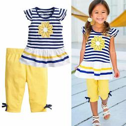 US Kids Toddler Baby Girls Outfit Clothes Frill T Shirt Flow