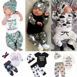 US Newborn Baby Boy Girl Tops Romper Bodysuit Jumpsuit Pants