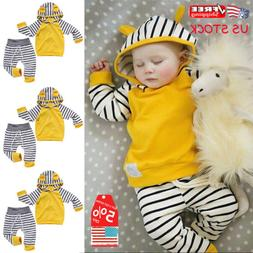 US Newborn Baby Boys Girls Hooded Shirt Tops+Pants Outfits T