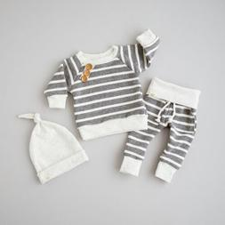 US Newborn Baby Boys Girls Top T shirt+Pants+Hat Striped Out