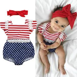 US Newborn Baby Girl 4th Of July Stripe Clothes Romper Jumps