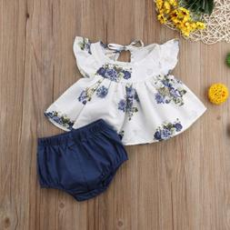 US Newborn Baby Girls Cotton Tops Dress Floral Pants Outfits