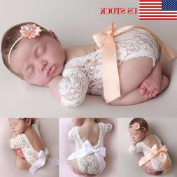 US Newborn Lace Romper Photo Clothing Bow lace Hair Band Set