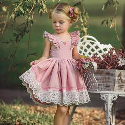 US Canis Princess Kids Baby Girls Lace Floral Party Tutu Dre