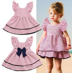 US Seller Casual Kids Baby Girls Back Bowknot Layered Stripe