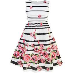 US STOCK Sunny Fashion Girls Dress Black Striped Pink Flower