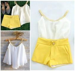 US Stock Toddler Kids Girls Chiffon Strappy Tops Shorts Summ