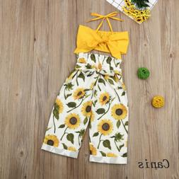 US Summer Kids Baby Girls Clothes Halter Vest Tops Sunflower