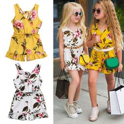 US Summer Toddler Baby Kids Girls Floral Romper Bodysuit Jum