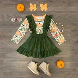 US Toddler Baby Girl Halloween Pumpkin Clothes Tops +Suspend