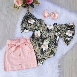 US Toddler Baby Girls Summer Clothes Floral Romper Bodysuit+