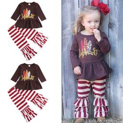 US Toddler Kids Baby Girl Thanksgiving Dress Tops Stripe Leg