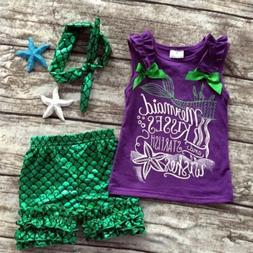 US Toddler Kids Baby Mermaid Girl Clothes Tank Tops + Pants+