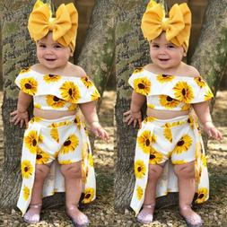 USA 3PCS Toddler Kids Baby Girl Sunflower Crop Tops Shorts D