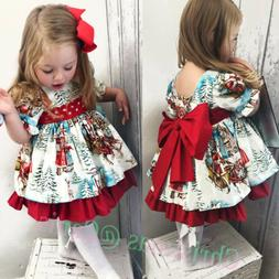 USA Christmas Toddler Kid Baby Girl Xmas Festival Flared Par